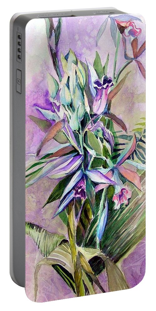 Orchids Portable Battery Charger featuring the painting Orchids- Botanicals by Mindy Newman