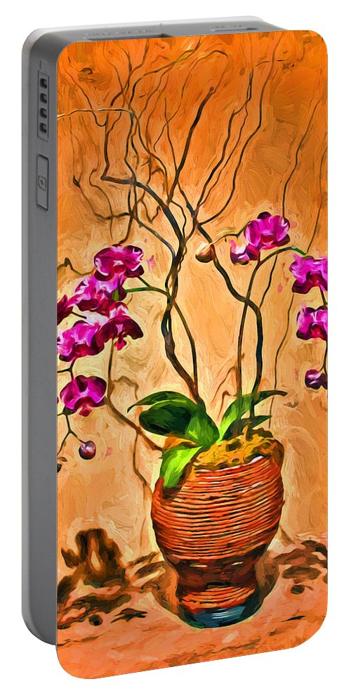 Orchids Portable Battery Charger featuring the photograph Orchids In Basket by Carlos Diaz