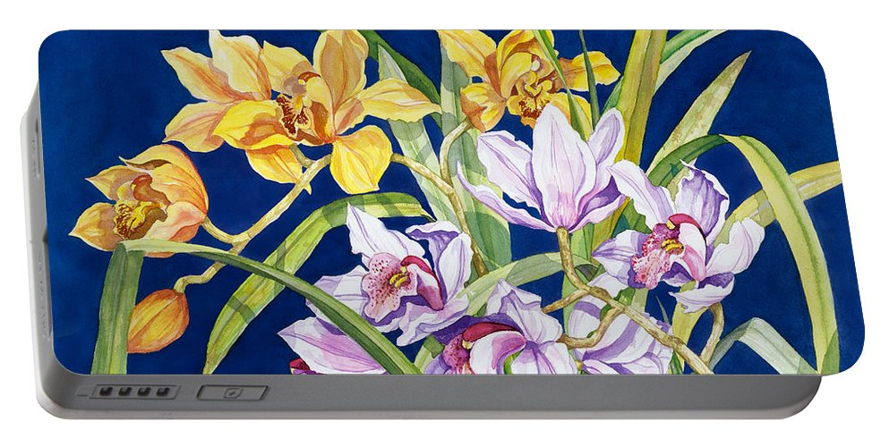 Orchids Portable Battery Charger featuring the painting Orchids In Blue by Lucy Arnold