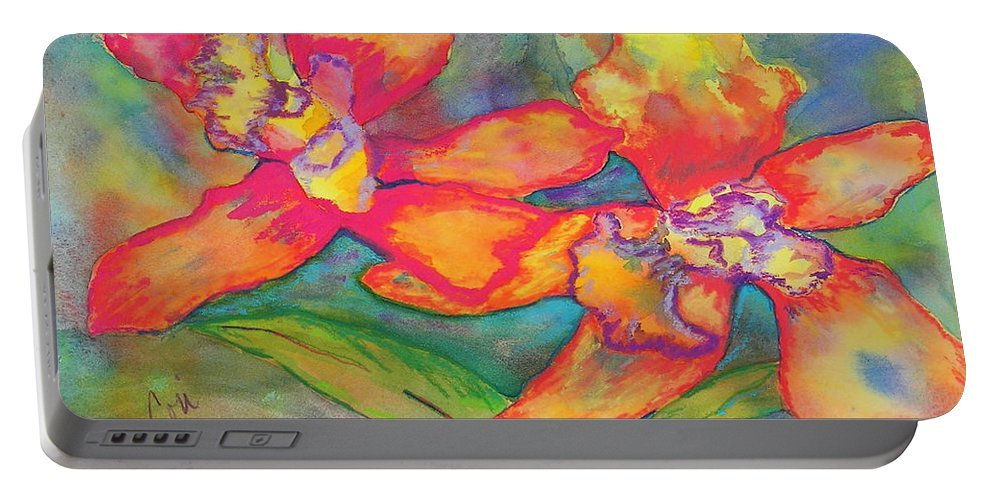 Flowers Portable Battery Charger featuring the painting Orchids In Paradise by Cori Solomon