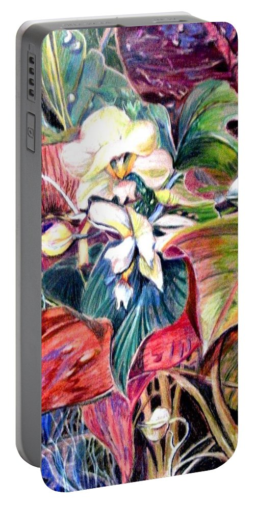Valentines Portable Battery Charger featuring the drawing Orchids In White by Mindy Newman