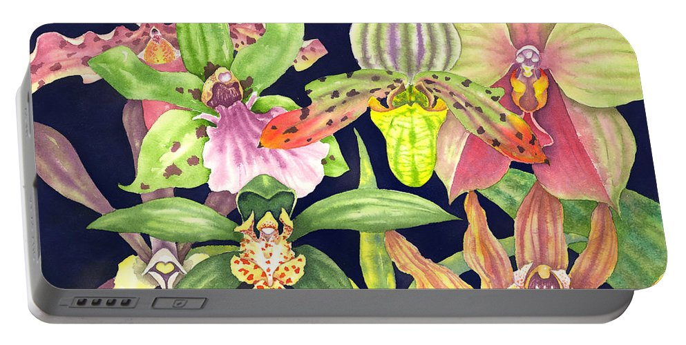 Orchids Portable Battery Charger featuring the painting Orchids by Lucy Arnold