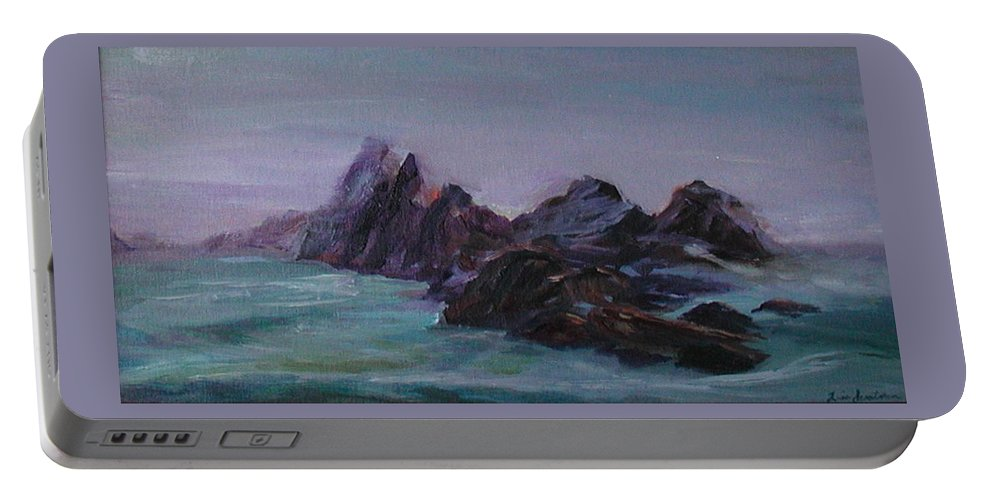 Impressionism Portable Battery Charger featuring the painting Oregon Coast Seal Rock Mist by Quin Sweetman