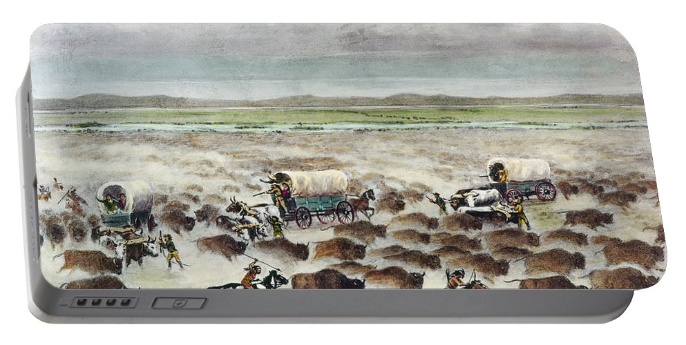 1866 Portable Battery Charger featuring the photograph Oregon Trail: Stampede by Granger