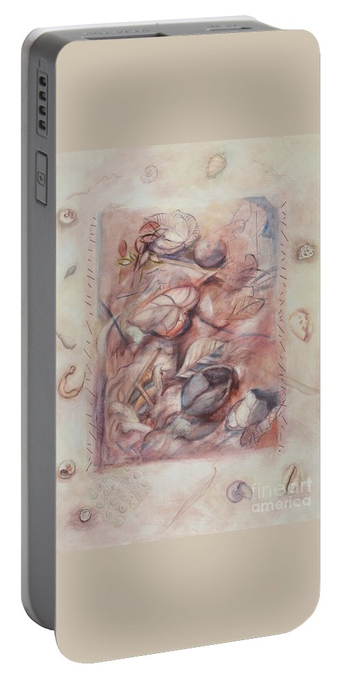 Shells Portable Battery Charger featuring the painting Organic Co-existence by Kerryn Madsen-Pietsch