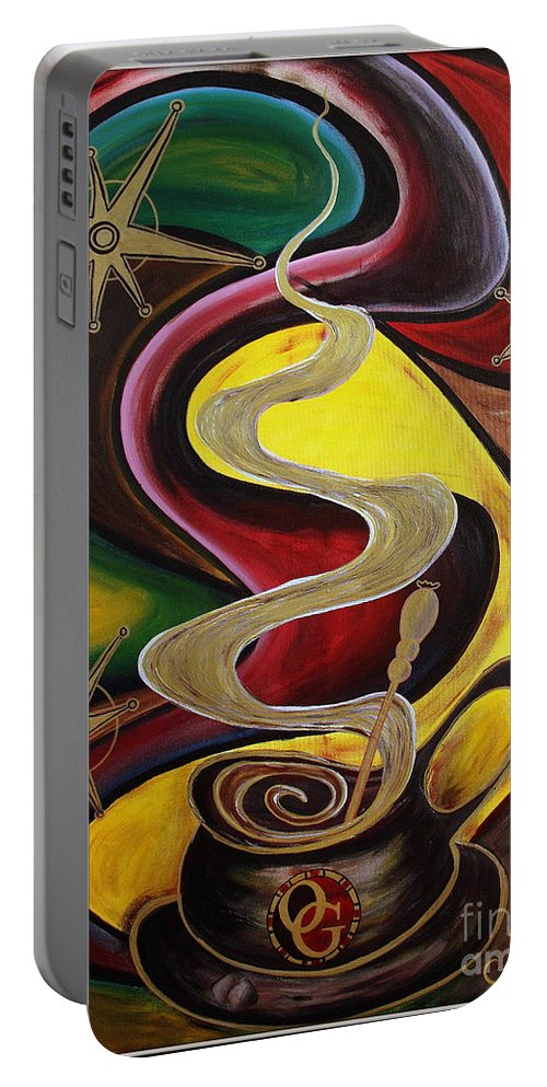 Coffee Portable Battery Charger featuring the painting Organo Gold by Jolanta Anna Karolska