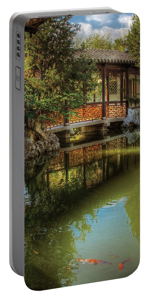 Savad Portable Battery Charger featuring the photograph Orient - Bridge - The Chinese Garden by Mike Savad