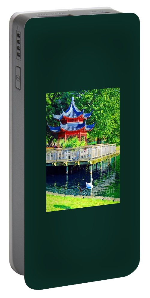 Orient Portable Battery Charger featuring the photograph Orient Swan Pagoda by Jost Houk
