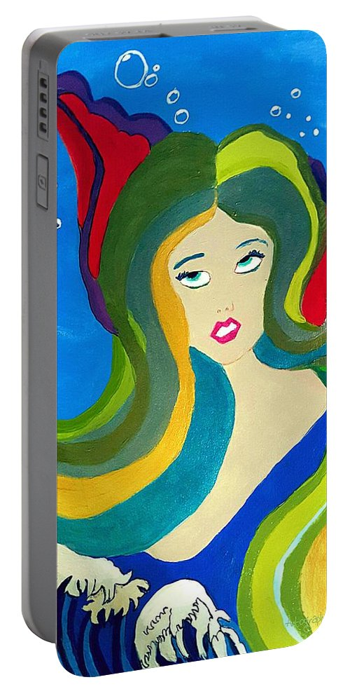 Oriental Mermaid Portable Battery Charger featuring the painting Japanese Mermaid Bubbles by Pamela Smale Williams