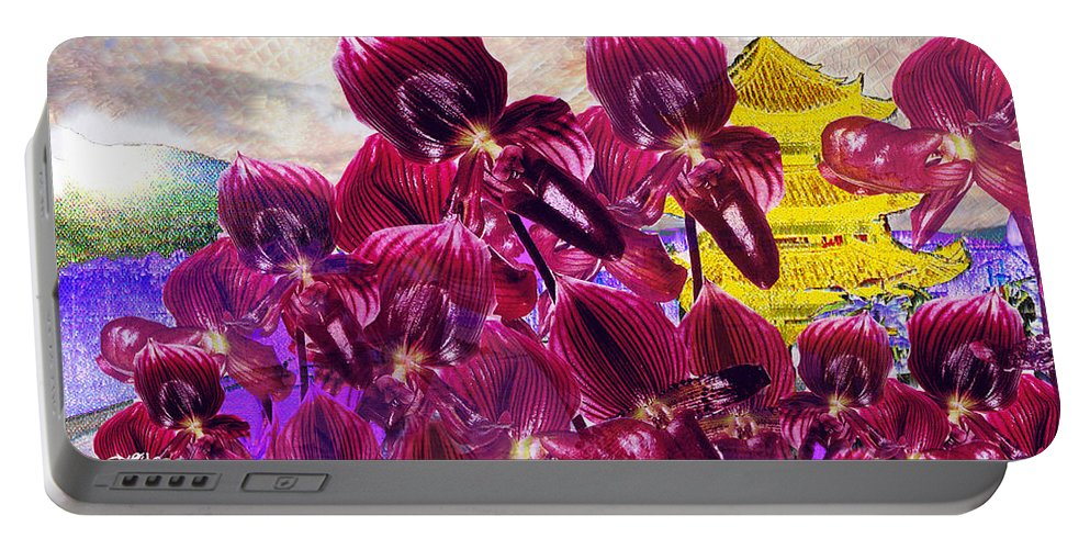 Far East Portable Battery Charger featuring the digital art Oriental Orchid Garden by Seth Weaver