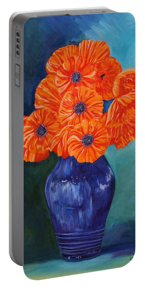 Oriental Portable Battery Charger featuring the painting Oriental Poppies In Blue by PJ Wetak