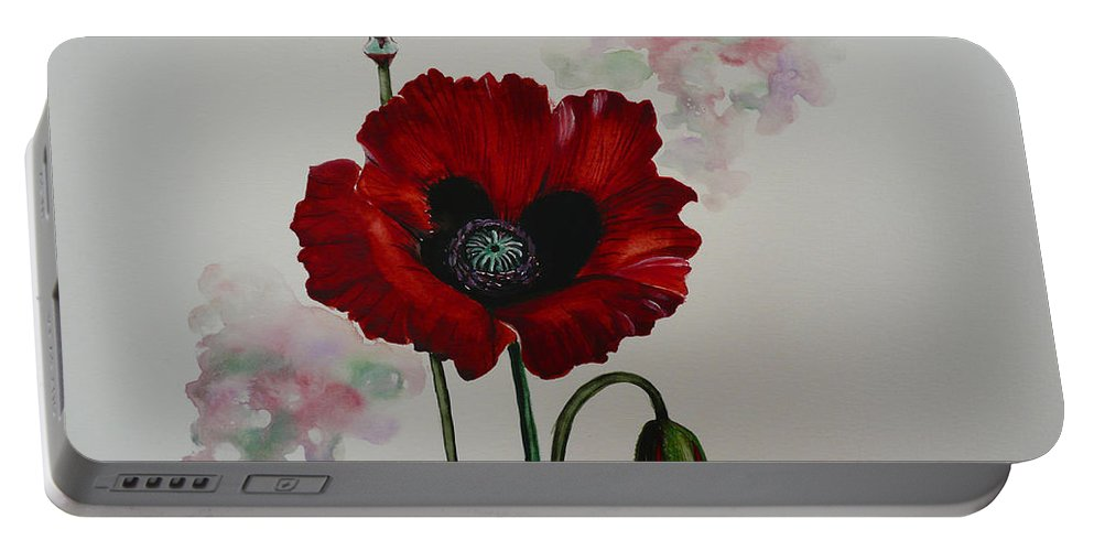 Floral Poppy Red Flower Portable Battery Charger featuring the painting Oriental Poppy by Karin Dawn Kelshall- Best