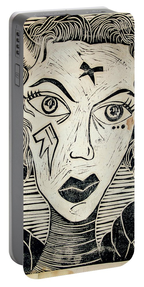 Block Print Portable Battery Charger featuring the print Original Devil Block Print by Thomas Valentine