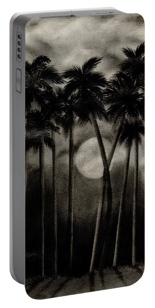 Original Moonlit Palm Trees Portable Battery Charger featuring the drawing Original Moonlit Palm Trees by Larry Lehman