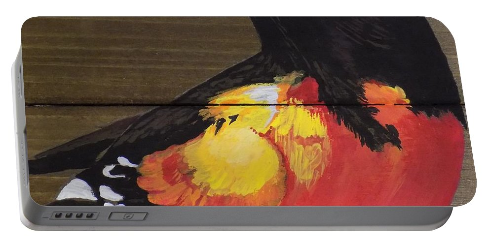 Baltimore Oriole Portable Battery Charger featuring the painting Oriole 6 by Paul Bashore