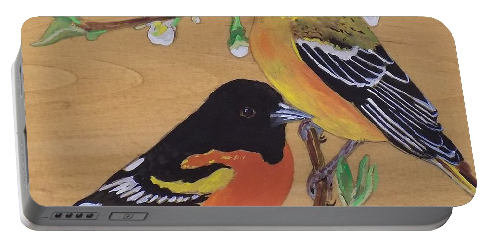 Baltimore Orioles Portable Battery Charger featuring the painting Orioles 1 by Paul Bashore