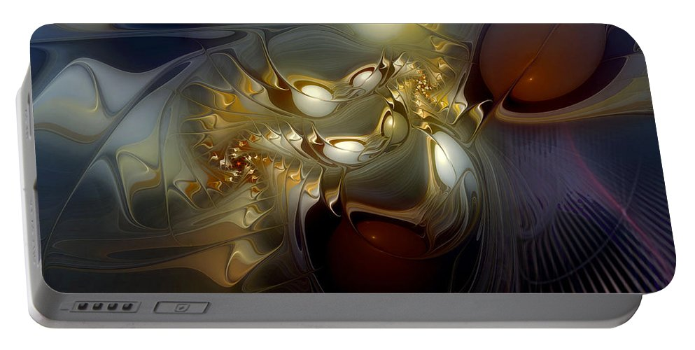 Abstract Portable Battery Charger featuring the digital art Orion's Pursuit by Casey Kotas