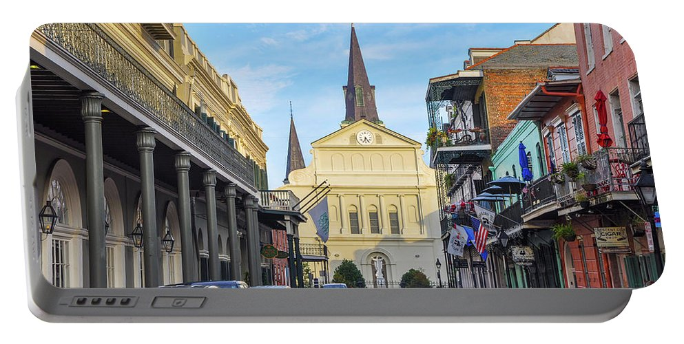 Orleans Portable Battery Charger featuring the photograph Orleans Street And St Louis Cathedral by Bill Cannon