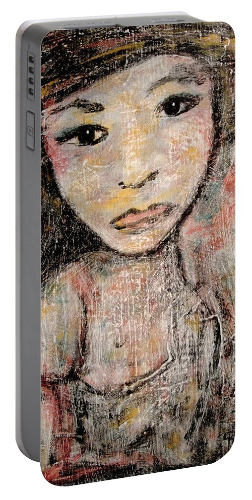 Orphan Portable Battery Charger featuring the painting Orphan by Natalie Holland