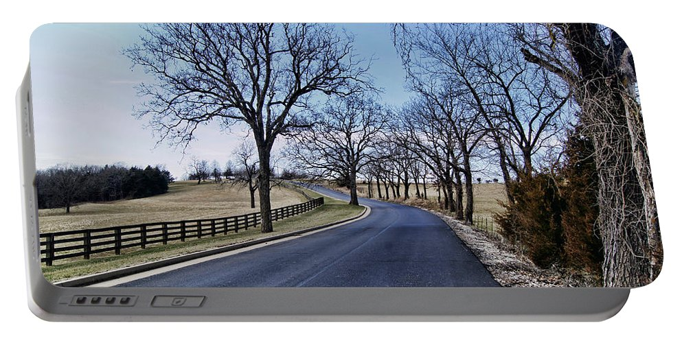 �osage County Road� Portable Battery Charger featuring the photograph Osage County Road by Cricket Hackmann
