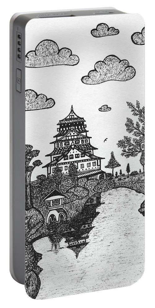 Castle Portable Battery Charger featuring the drawing Osaka Castle by Nick Sheludiak