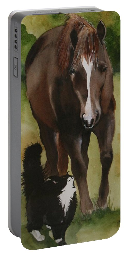 Horse Portable Battery Charger featuring the painting Oscar And Friend by Jean Blackmer