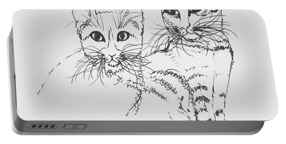 Cat Portable Battery Charger featuring the drawing Oscar And Poppy by Pookie Pet Portraits