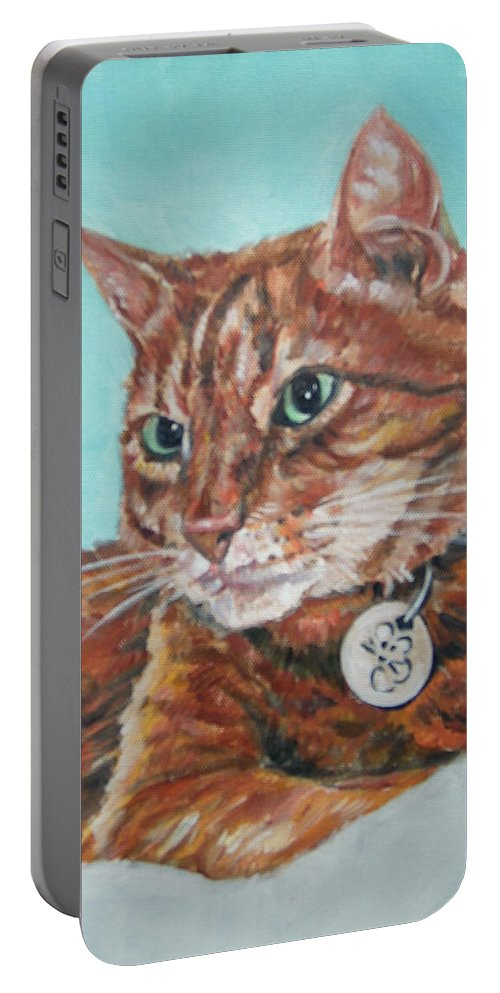 Cat Portable Battery Charger featuring the painting Oscar by Bryan Bustard