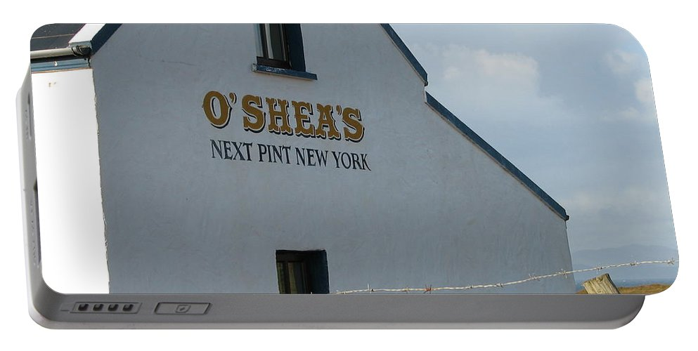 Pub Portable Battery Charger featuring the photograph O'shea's by Kelly Mezzapelle