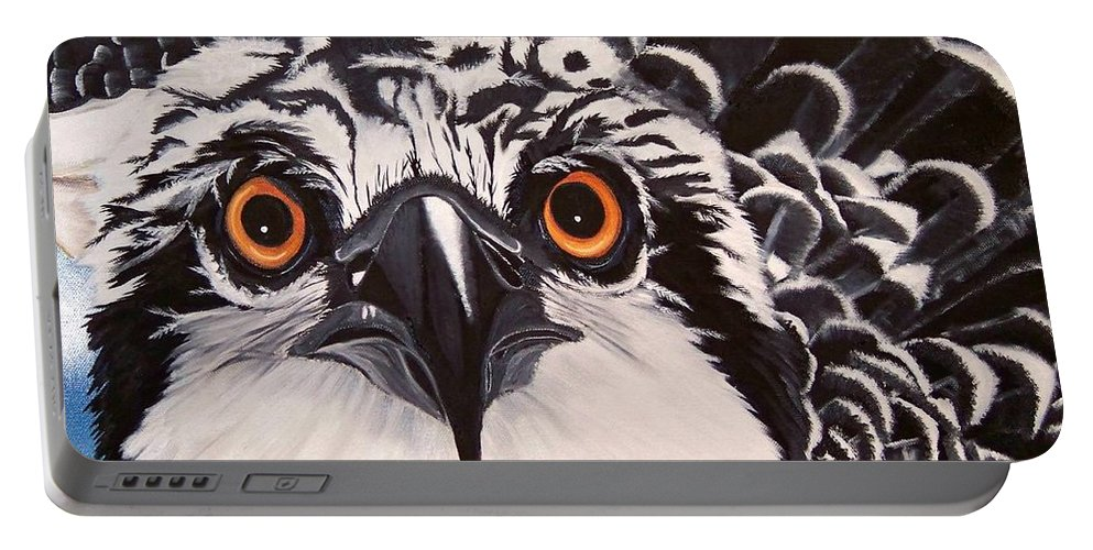 Osprey Portable Battery Charger featuring the painting Osprey Eyes by Debbie LaFrance