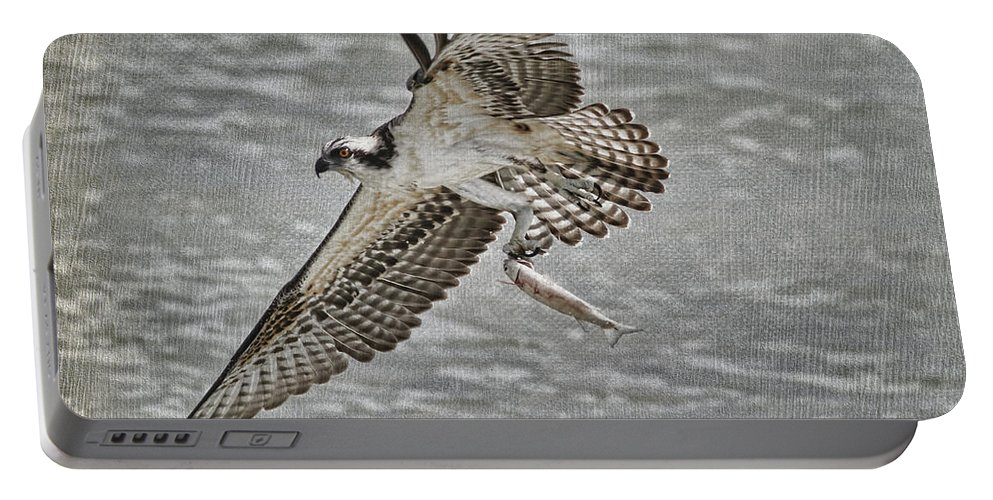 Osprey Portable Battery Charger featuring the photograph Osprey With Breakfast by Deborah Benoit