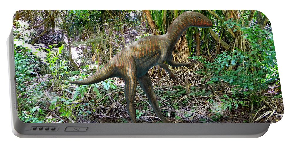 Dinosaur Art Portable Battery Charger featuring the mixed media Othiniela In The Forest by Frank Wilson