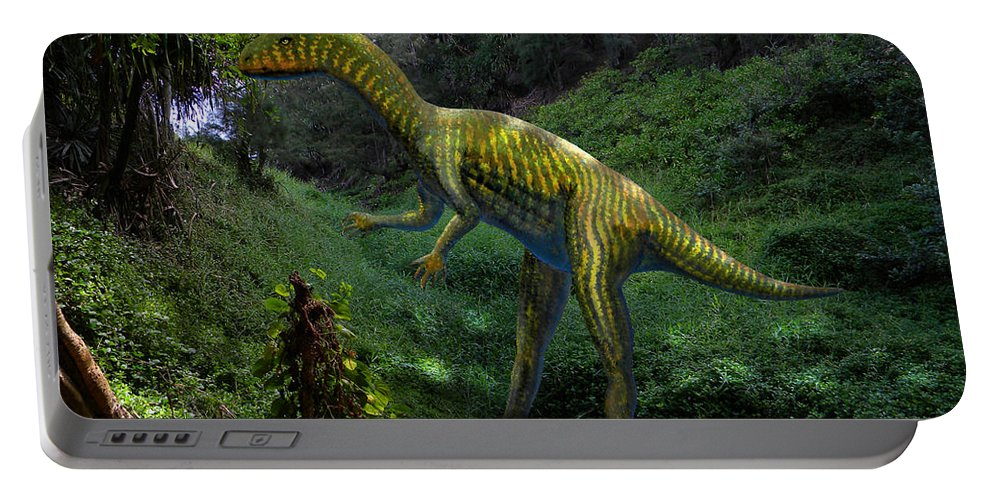 Dinosaur Art Portable Battery Charger featuring the mixed media Othniela In Jungle by Frank Wilson