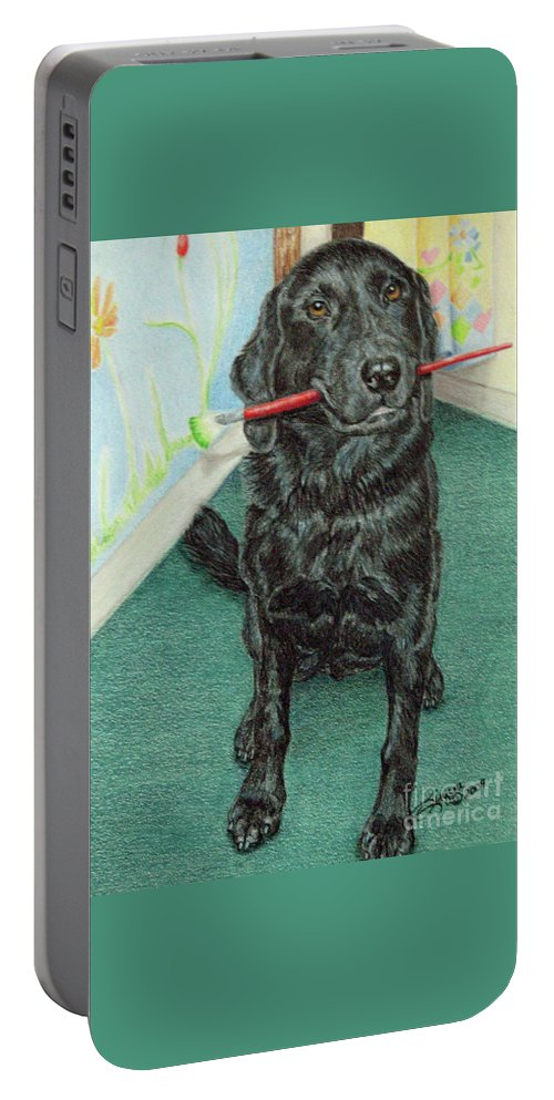 Fuqua - Artwork Portable Battery Charger featuring the drawing Otis-se by Beverly Fuqua