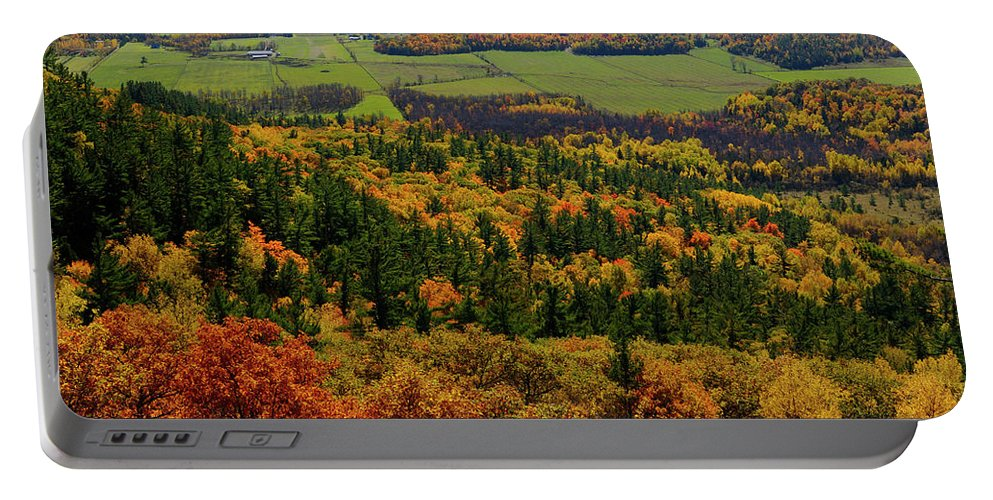 Tawadina Portable Battery Charger featuring the photograph Ottawa River Valley In Fall At Tawadina Lookout At End Of Blanch by Reimar Gaertner