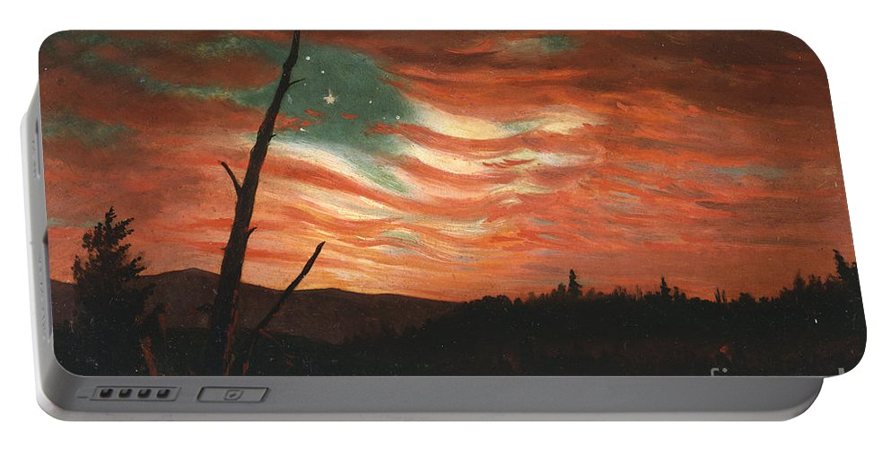 Our Portable Battery Charger featuring the painting Our Banner in the Sky by Frederic Edwin Church