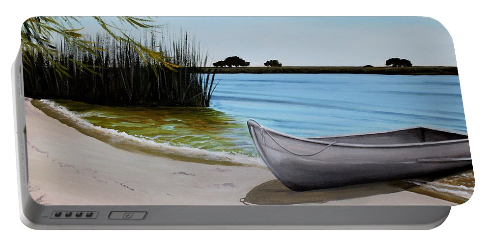 Landscape Portable Battery Charger featuring the painting Our Beach by Elizabeth Robinette Tyndall