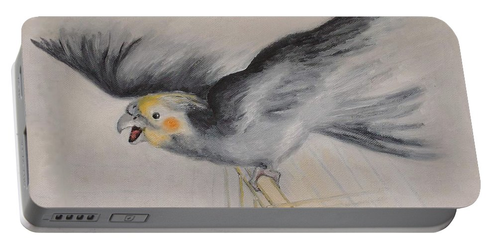 Cockatiel.pet Portable Battery Charger featuring the painting our cockatiel Coco by Helmut Rottler