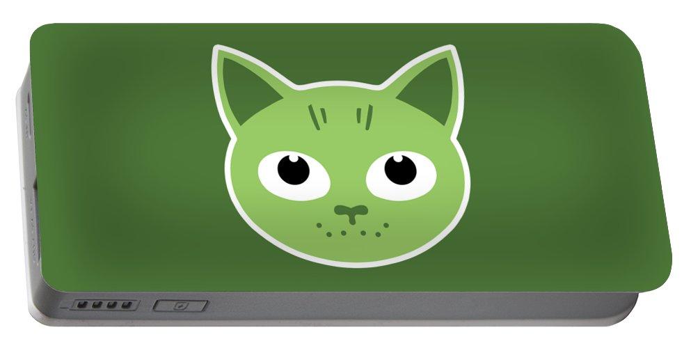 Cat Portable Battery Charger featuring the digital art Our Green Cat Birka by Herbert Mattie