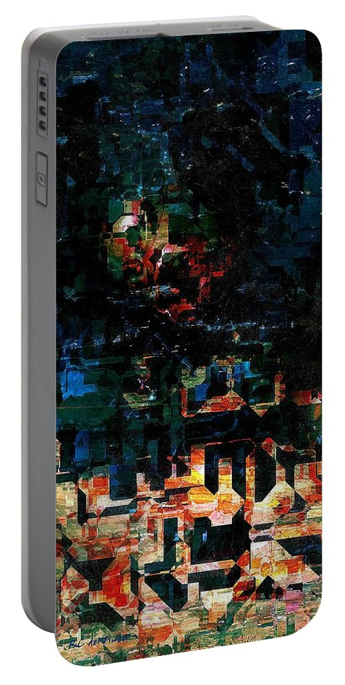 Semi-abstract Portable Battery Charger featuring the painting Our Little Town by RC DeWinter