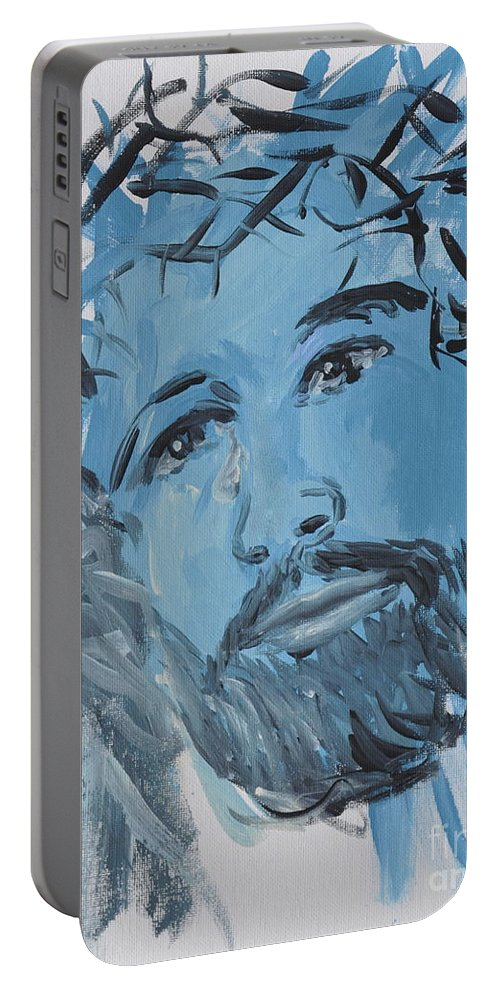 Jesus Portable Battery Charger featuring the painting Our Lord Cries by Penny Neimiller