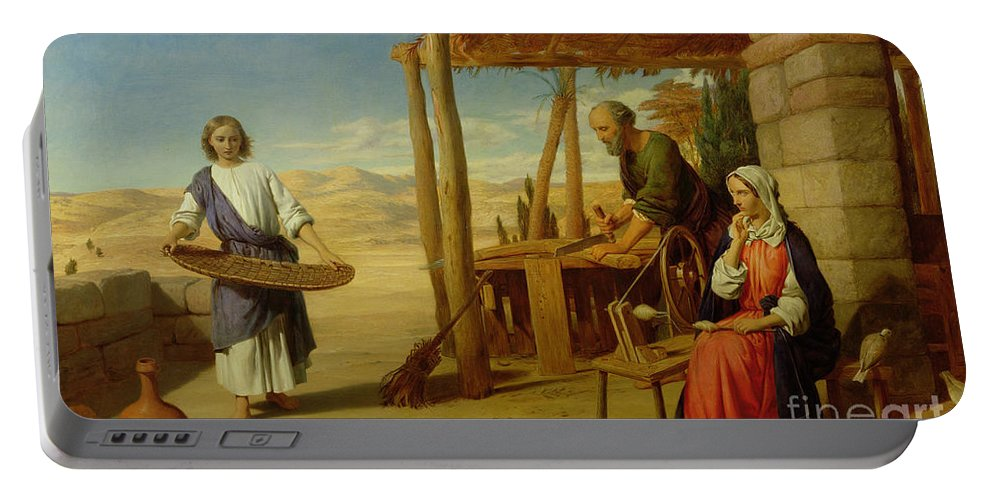 Pre-raphaelite Portable Battery Charger featuring the painting Our Saviour Subject To His Parents At Nazareth by John Rogers Herbert