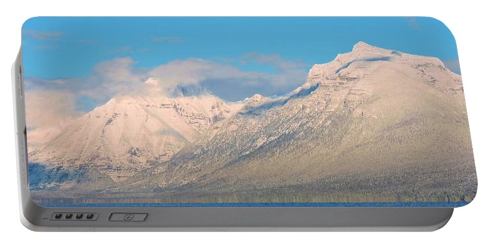 Mountains Portable Battery Charger featuring the photograph Out For A Swim by Eric Fellegy