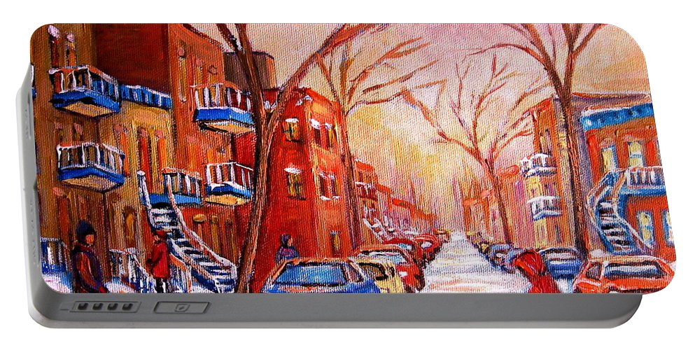 Montreal Portable Battery Charger featuring the painting Out For A Walk With Mom by Carole Spandau