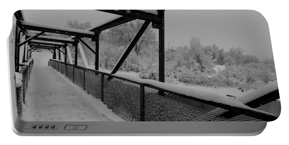 Black And White Phototgraphy Portable Battery Charger featuring the photograph Out Of Kilter Walkway by Kirk Griffith