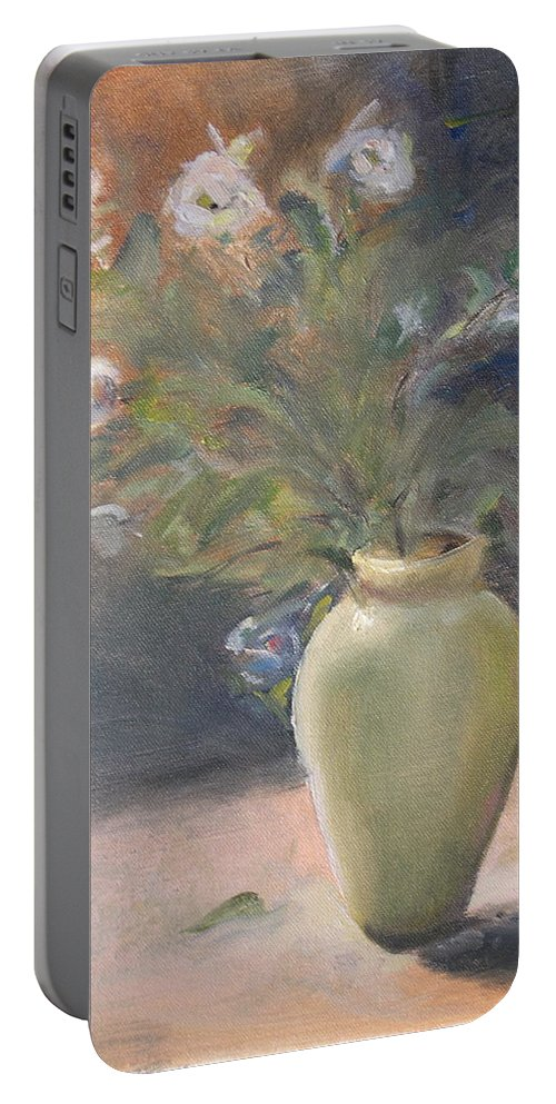 Flower Portable Battery Charger featuring the painting Out Of The Garden by Patricia Caldwell