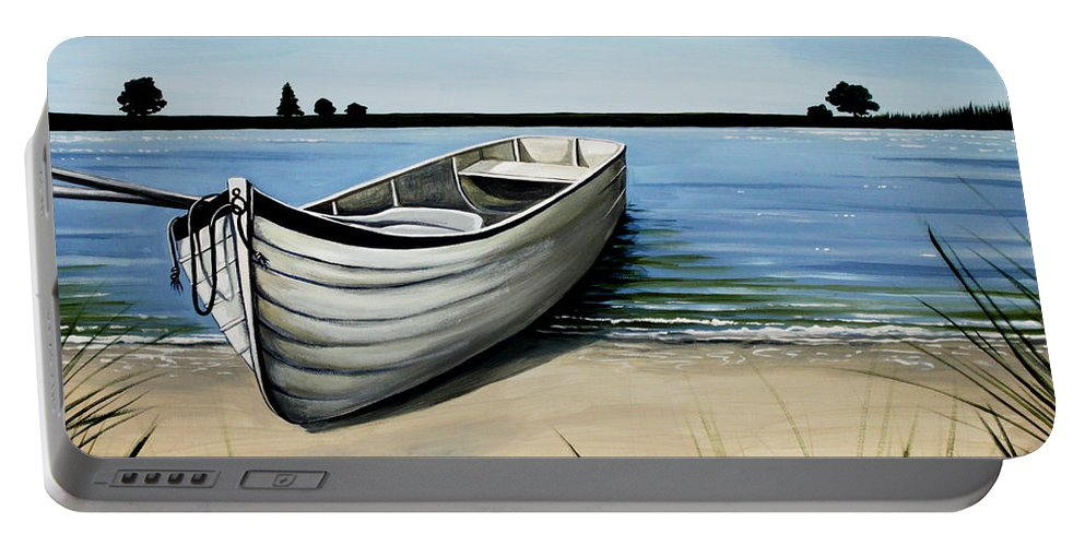 Boat Portable Battery Charger featuring the painting Out On The Water by Elizabeth Robinette Tyndall