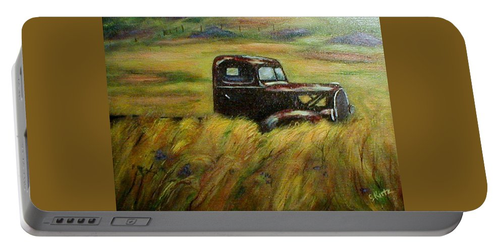 Vintage Truck Portable Battery Charger featuring the painting Out To Pasture by Gail Kirtz