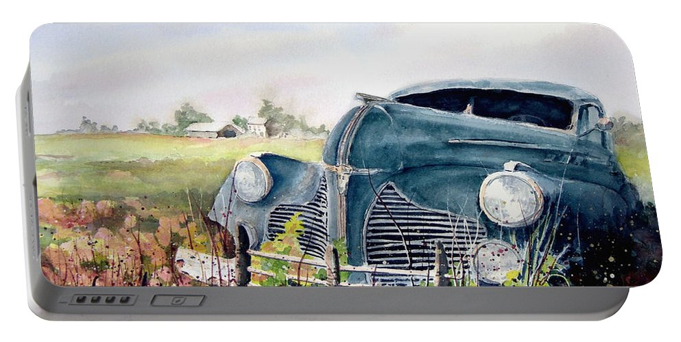 Classic Car Portable Battery Charger featuring the painting Out To Pasture by Sam Sidders