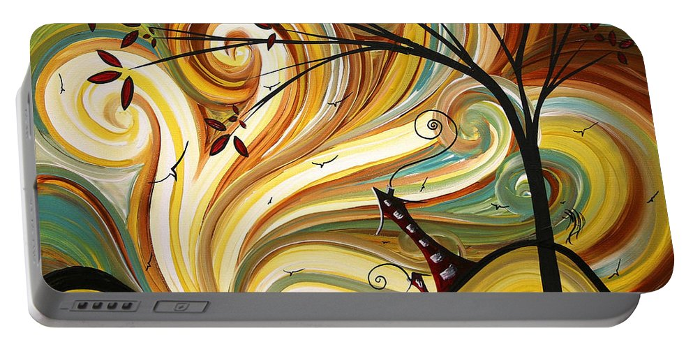 Art Portable Battery Charger featuring the painting OUT WEST Original MADART Painting by Megan Duncanson